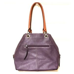 Like New Clarks Purple Pebbled Leather Tote Purse